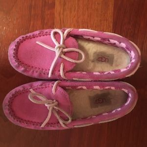 Girls pink UGGs moccasins, size 12